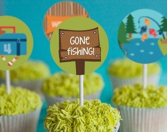 Gone Fishing Party Cupcake Toppers - Fishing Cupcake Toppers - Instant Download and Edit File at home with Adobe Reader - Print at home