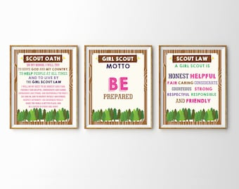 Girl Scout Poster Set - Girl Scout Oath - Girl Scout Honor - Girl Scout Law - Instant Download and Edit File with Adobe Reader