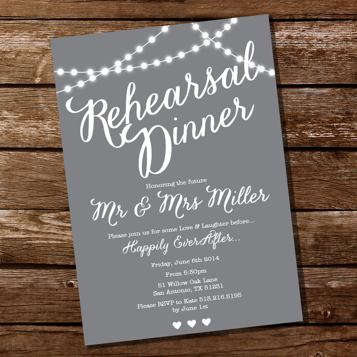 Wedding Rehearsal Invitations Templates: Gray Rehearsal Dinner Invitation Instant Download And Edit