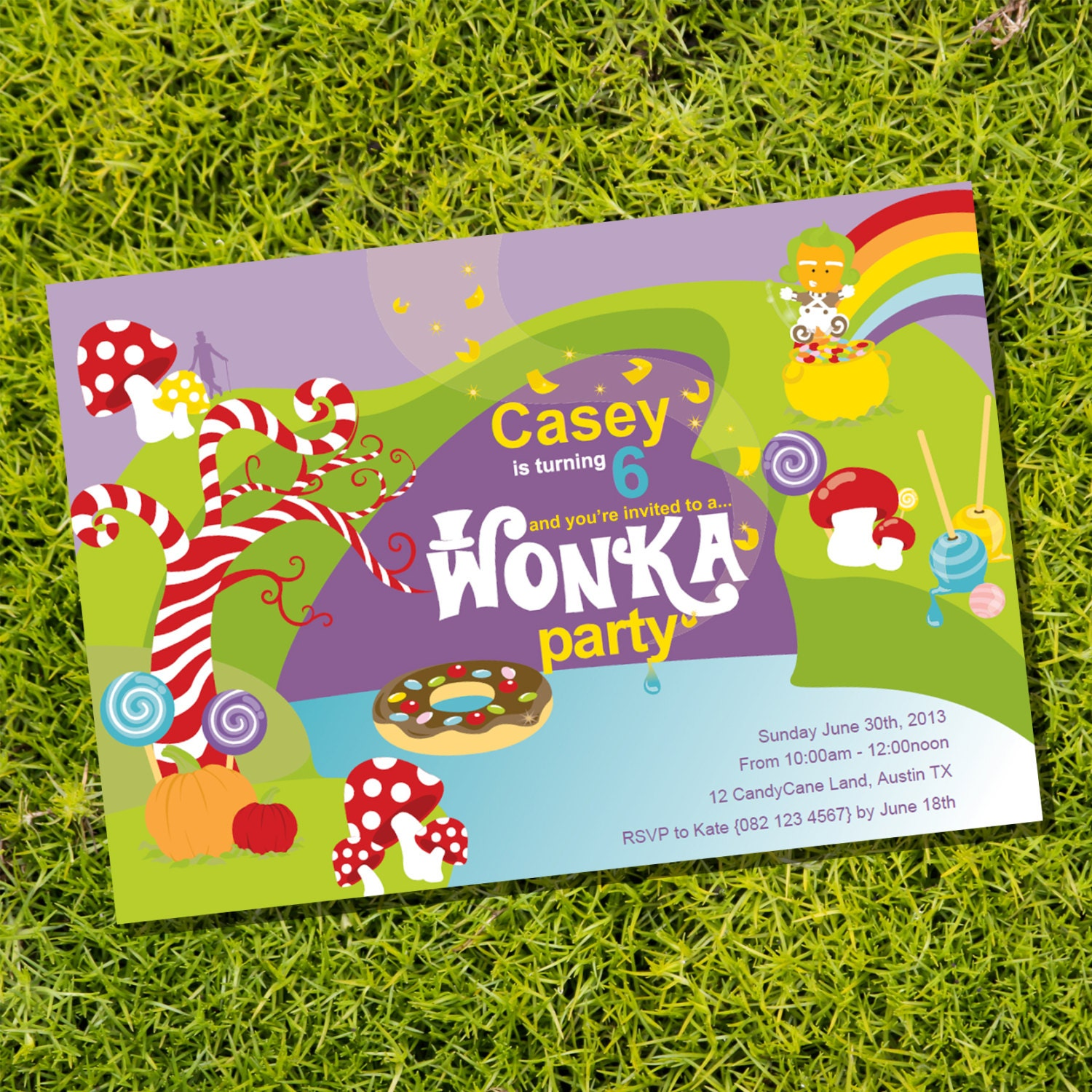 Willy Wonka Birthday Party Invitation Instantly Downloadable Etsy