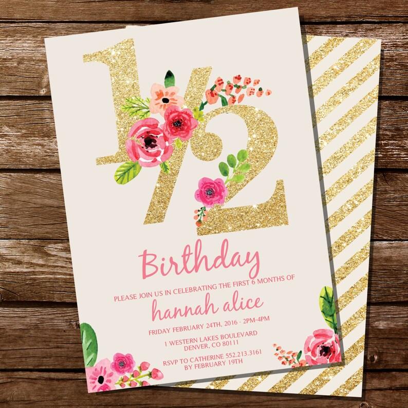Half Birthday Invitation Gold Glitter Floral Watercolor 1 2