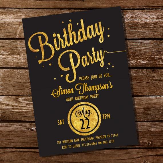 Gold Glitter Birthday Party Invitation