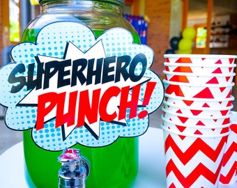 Superhero Party Signs - Superhero Party Printable Sign - Superhero Signs - Instant Download and Edit File at home with Adobe Reader