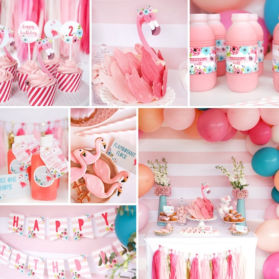 Pink And Blue Flamingo Birthday Party