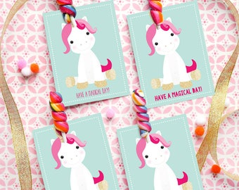 Gold Glitter Unicorn Valentine's Card - Valentine's Gift Cards and Tags for Kids - Instant Download | Edit with Adobe | Print