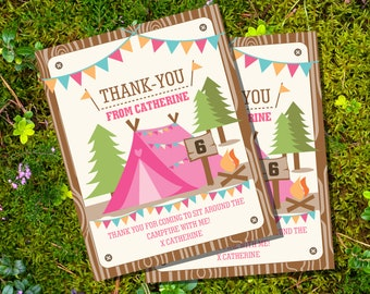 Camping Birthday Party Thank-You Card for a Girl | Thank-You Card Instant Download and Edit File at home with Adobe Reader