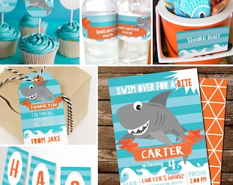 Shark Party Decorations - Shark Party Printable Decor - Shark DIY Decor - Shark Invitation - Instant Download - Editable File