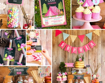 Girls Glamping Party Full Printable Set - Camp Out - Glamping Editable - Instant Download and Editable File - Personalize with Adobe Reader