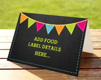 Summer Pool Party Tent Cards, Food Labels, Buffet Cards, Food Tags, Labels - Instantly Downloadable File