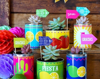 Mexican Fiesta Tin Can Wrappers | Mexican Fiesta Party Favor