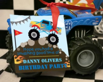 Monster Truck Party Favor Tags - Monster Trucks Party Favors - Instant Download and Editable File - Personalize at home with Adobe Reader