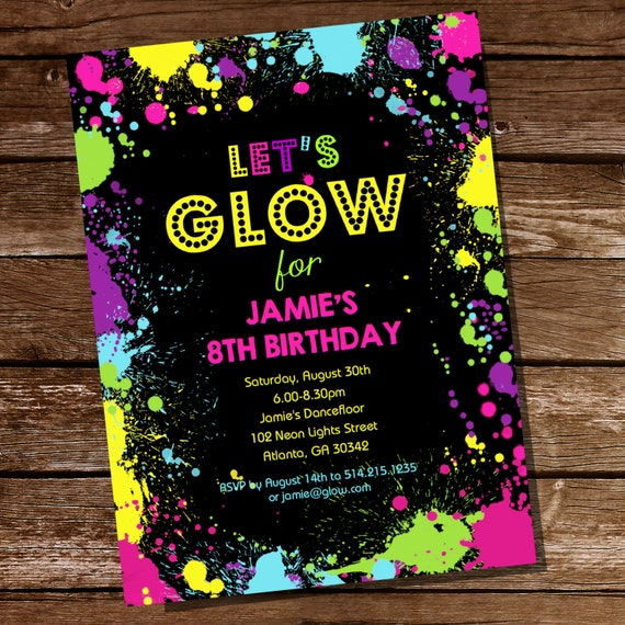 Neon Glow Party Theme Invitation Instantly Downloadable