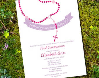 First Communion Invitation for Girls - Instant Download and Edit with Adobe Reader - Print at Home!