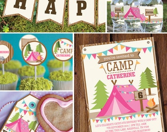 Girls Camping Party Full Printable Set - Camp Out - Glamping Editable - Instant Download and Editable File - Personalize with Adobe Reader