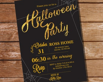 Halloween Party Invitation - Halloween Invitation - Instant Download and Edit with Adobe Reader - Print at Home!