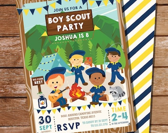 Boy Scout Party Invitation - Boy Scout Birthday Party  - Camping Invitation - Instant Download and Edit File with Adobe Reader