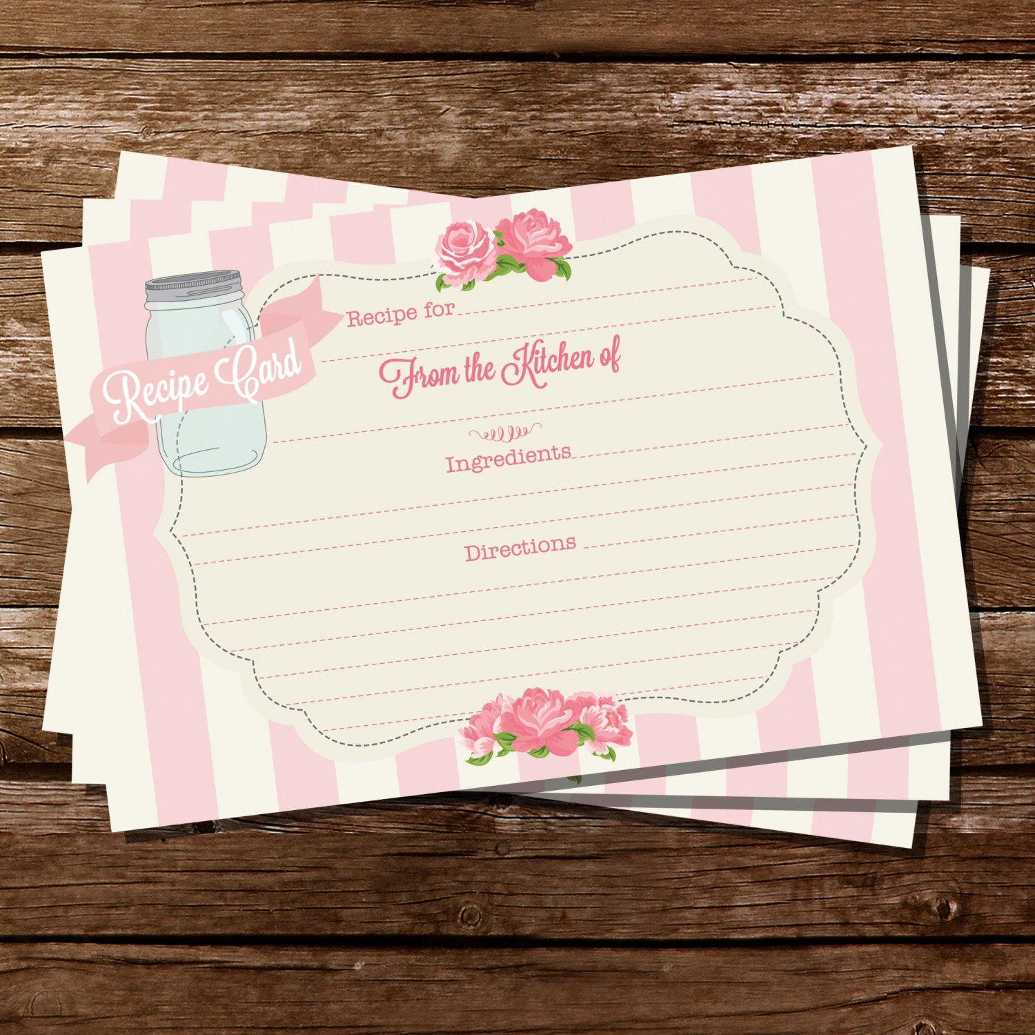 Printable Recipe Card Shabby Chic Floral Recipe Cards Etsy