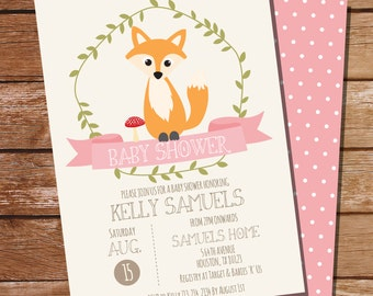 Fox Baby Shower Invitation for a Girl - Girl Fox Invitation - Instant Download and Edit File at home with Adobe Reader