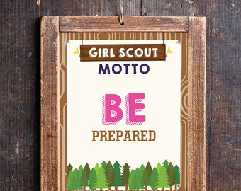 Girl Scout Motto Poster Printable - Girl Scout Printable - Instant Download and Edit File with Adobe Reader