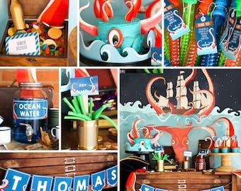 Kraken Birthday Party Decor - Kraken Party Printable Decor - Octopus Party - Sea Creature Party - Instant Download + Edit with Adobe Reader