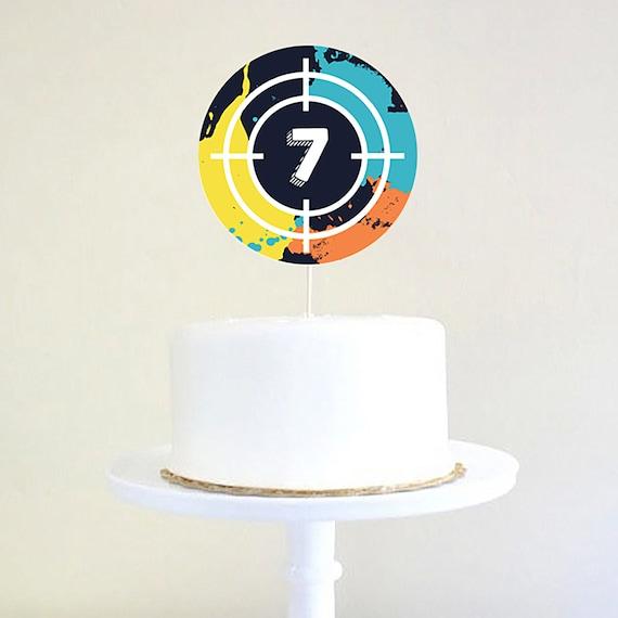 Marvelous Paintball Birthday Party Cake Topper Lazer Tag Party Cake Topper Birthday Cards Printable Giouspongecafe Filternl