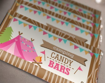Camping Tent Party Candy Wrappers - Glamping Editable - Instant Download - Editable File - Personalize with Adobe Reader