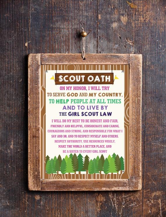 photograph regarding Scout Oath Printable named Woman Scout Oath Poster - Lady Scout Oath - Female Scout