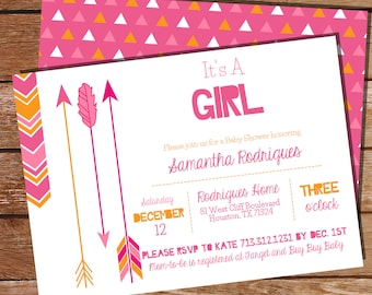 Tribal Baby Shower Party Invitation - Tribal Invitation - Girl Baby Shower Invitation - Instant Download and Edit at home with Adobe Reader