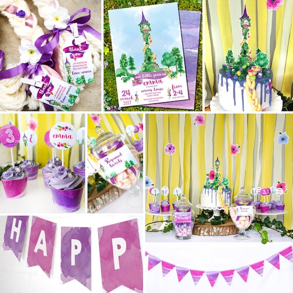 Rapunzel Party Decorations Rapunzel Party Princess Party Decor Instant Download And Edit File At Home With Adobe Reader