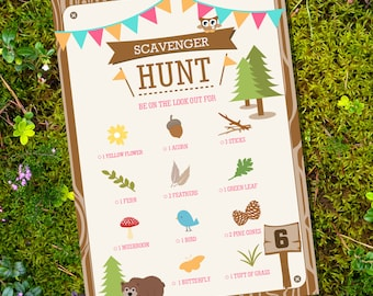 Scavenger Hunt Party Game - Camping Party Party Game - Glamping Editable - Instant Download - Editable File - Personalize with Adobe Reader