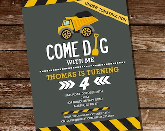 Come Dig With Me Construction Party Invitation  - Boys Construction Party  invitation Instantly Downloadable and Editable File