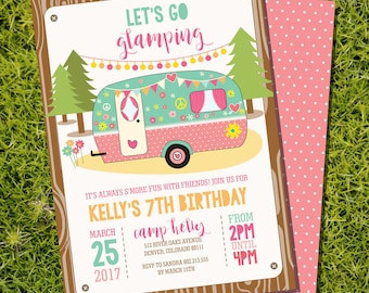 Glamping Party Invitation - Campervan Party Invitation - Camp Out - Glamping Invitation - Instant Download and Edit with Adobe Reader