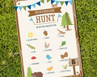 Scavenger Hunt Party Game - Camping Tent Party Party Game - Instant Download - Editable File - Personalize at home with Adobe Reader