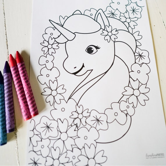 Unicorn Birthday Party Activity - Unicorn Coloring-In Page ...