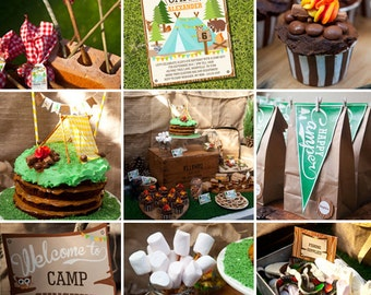 Camping Tent Party Full Printable Set - Camp Out - Instant Download and Editable File - Personalize at home with Adobe Reader