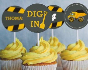 Come Dig with Me Construction Party Cupcake Toppers - Instant Download and Editable File - Personalize and print at home with Adobe Reader