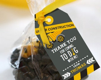 Come Dig with Me Construction Party Favors Tags - Instantly Downloadable and Editable File - Personalize and print at home with Adobe Reader