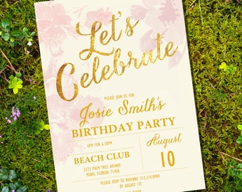 lets celebrate floral watercolor birthday invitation 40th 50th 60th 70th 80th invitation instant download