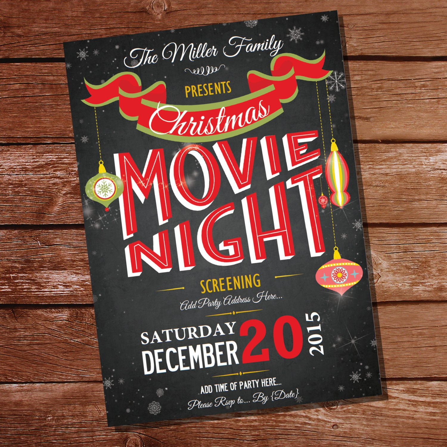 Chalkboard Christmas Movie Night Party Invitation Christmas