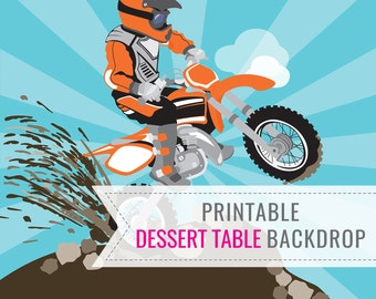 Dirt Bike Party Printable BACKDROP ONLY - Birthday Backdrop - Dessert Table Backdrop - Motorbike Party - Motocross Party - Instant Download