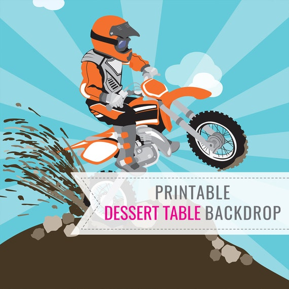 Dirt Bike Party Printable BACKDROP ONLY