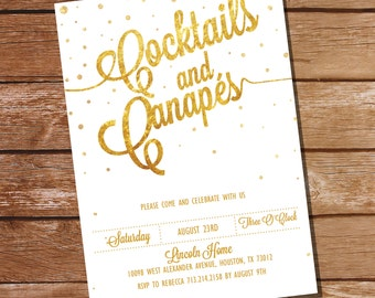 Gold Glitter Cocktail Party Invitation  - 16th 21st 25th 30th 40th 50th 60th birthday invitation - Instant Download + Edit with Adobe Reader