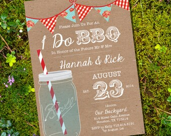 Shabby Chic I Do BBQ lnvitation Invitation - Engagement Party Invitation - Instantly Downloadable and Editable File - Print at Home!