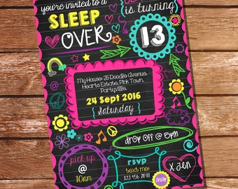 Neon Sleepover Invitation - Tween Girls - Sleep Over Party - Slumber Party Invitation - Instant Download- Edit with Adobe Reader
