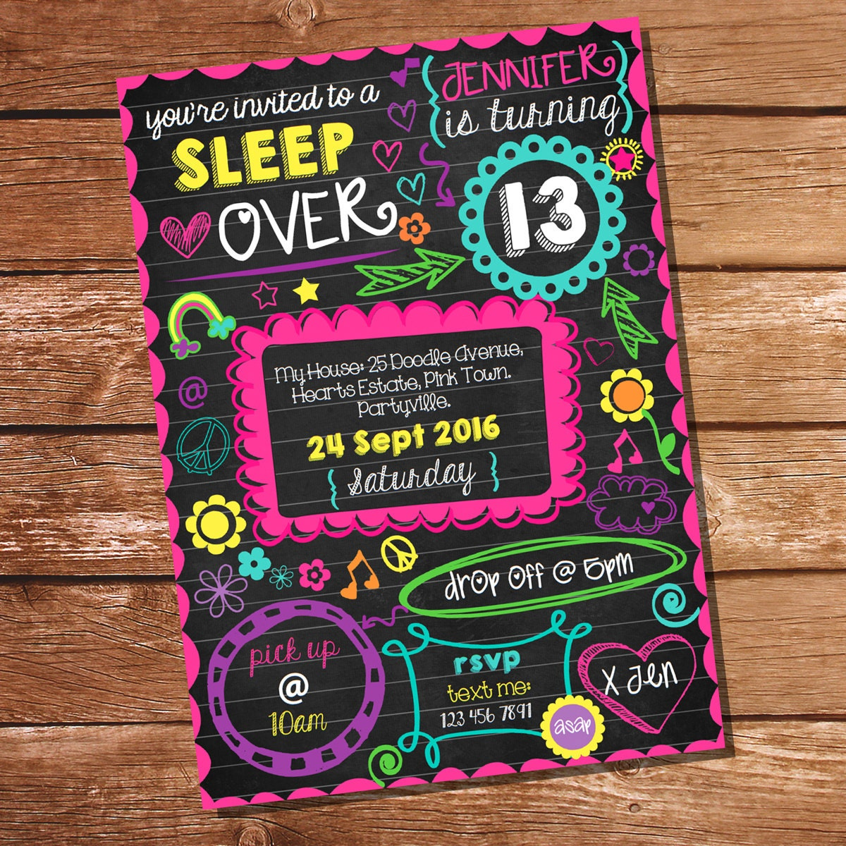 Neon Sleepover Invitation Tween Girls Sleep Over Party Etsy