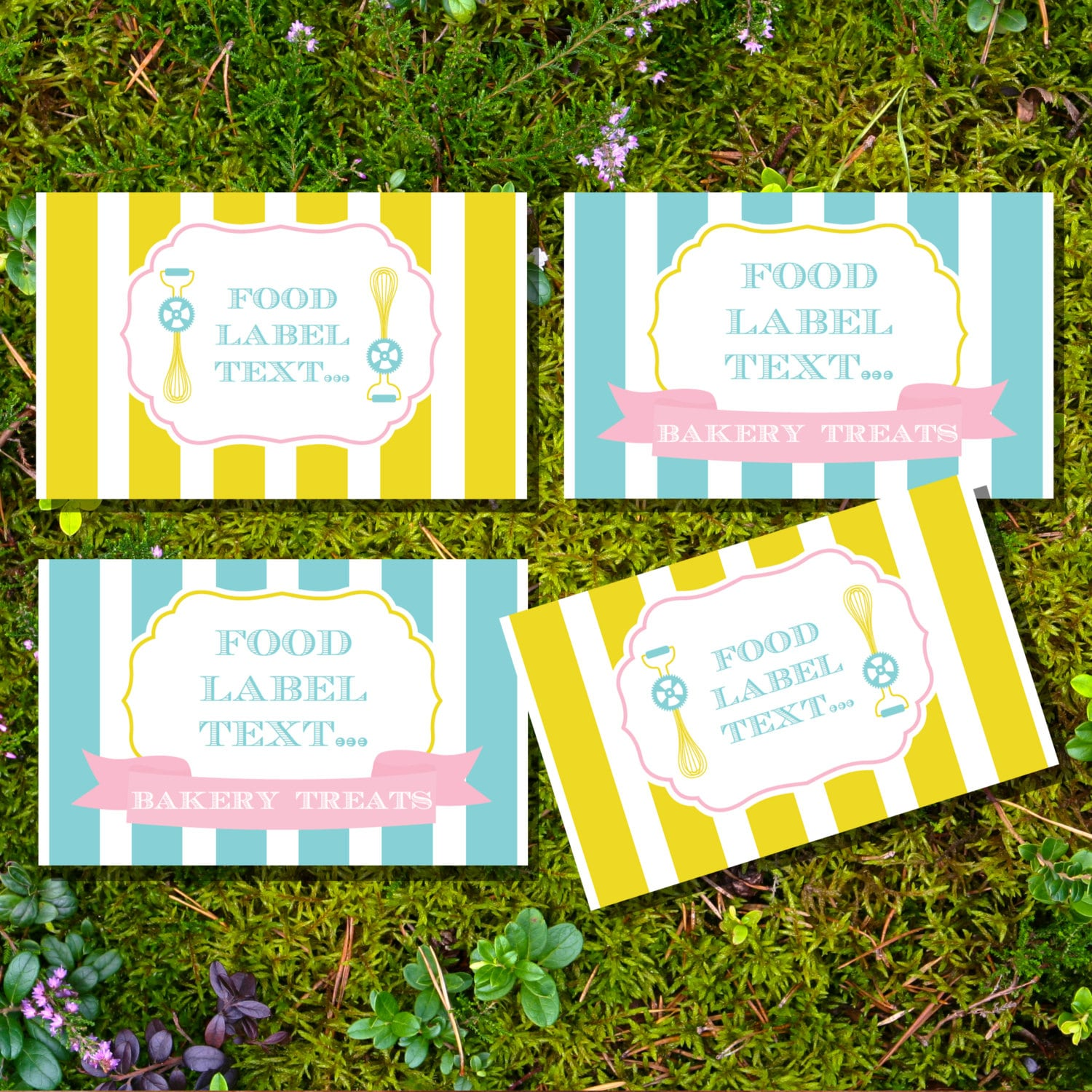 Bake Shoppe Birthday Party Food Labels Tent Cards Buffet