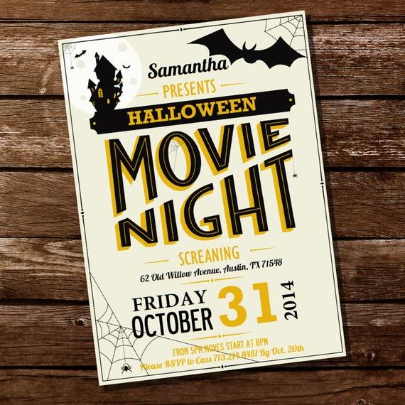 halloween movie night party invitation halloween invitation etsy