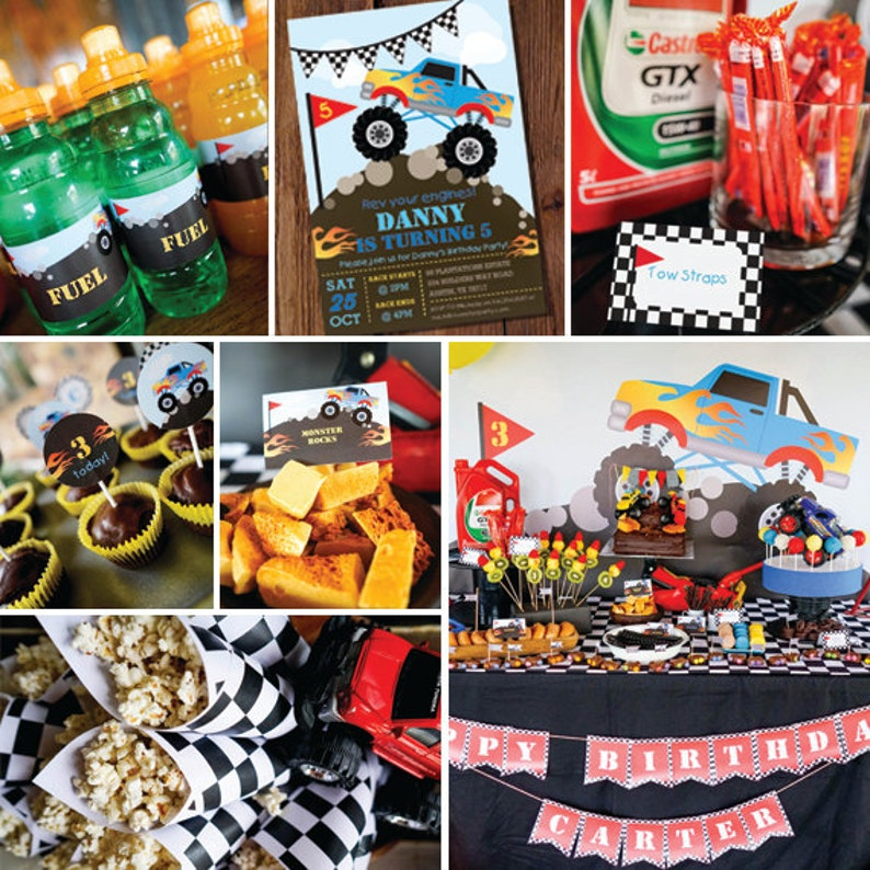 Monster Truck Pary Decorations Monster Truck Birthday Party Etsy