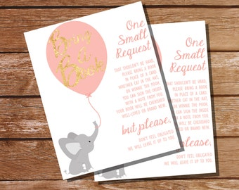 Elephant Baby Shower Bring A Book Insert Card - Vintage Pink and Gold - Instant Download + Editable File - Personalize with Adobe Reader
