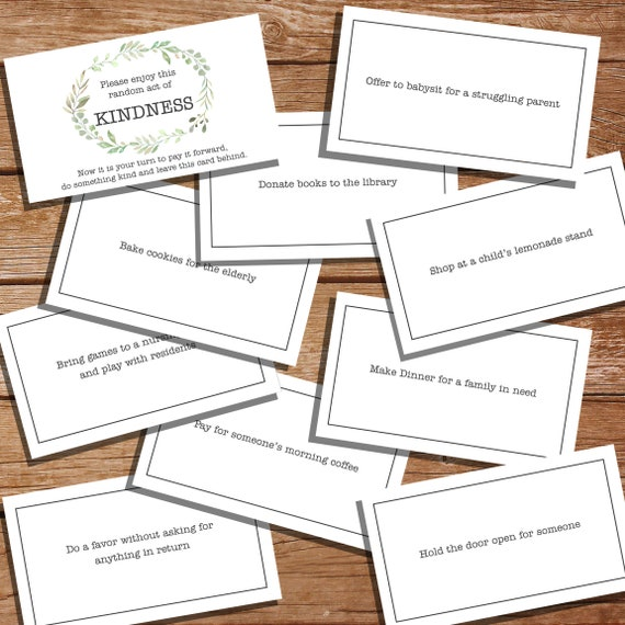photo regarding Kindness Cards Printable named Printable Kindness Playing cards - Printable Random Functions Of Kindness